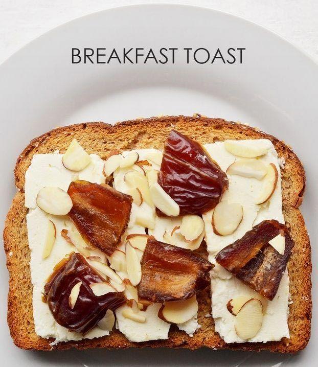 Ломтики сыра фета кладем на хлеб, посыпаем миндалем и нарезанными финиками.